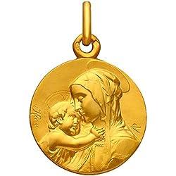 Premier Carat - Médaille Vierge Marie et Enfant Jesus en or Jaune - Médaille de Bapteme en or 9 carats - Diametre 18 mm - Medaille Religieuse Parfaite pour Cadeau de Bapteme ou de Communion