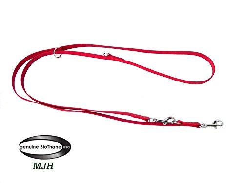 MJH Führleine BETA-BioThane 3-fach verstellbar 2m 16mm rot; Hunde von ca. 20kg bis 50kg
