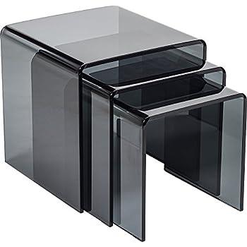 Hermosa dakota bent curved nest of tables glass glass grey 42 x hermosa dakota bent curved nest of tables glass glass grey 42 x 42 watchthetrailerfo