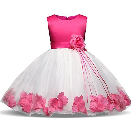 NNJXD Mädchen Tutu Blütenblätter Schleife Brautkleid für Kleinkind Mädchen Größe 7-8 Jahre Großes Rose 1 - Kleinkind Mädchen Kleid