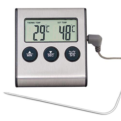 Lantelme2153, Digital Backofenthermometer mit Fühler /Hitzebeständigbis250°C, mit Alarm- undTimerfunktionen