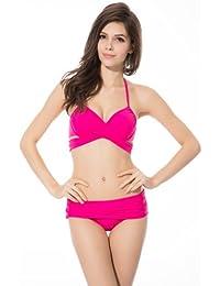 Ivy Shi Maillot de Bain Femme Trikini Bikini Push Up Bustier Rembourrée 2 Pièces Pour Femme