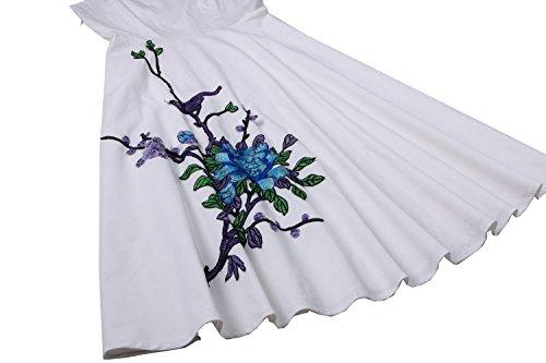 Pinkyee Damen A-Linie Kleid Weiß