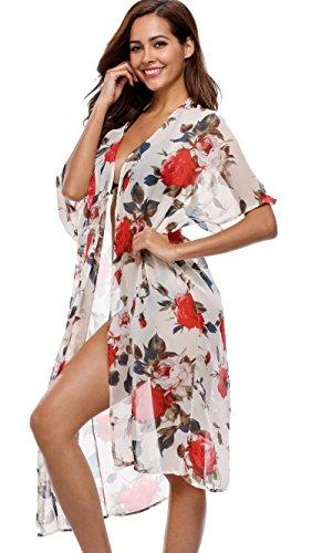 Attraco Damen Eleganter Strandponcho Bikini Cover Ups Strandkleid Sarongs Blumen und Streifen Blumen