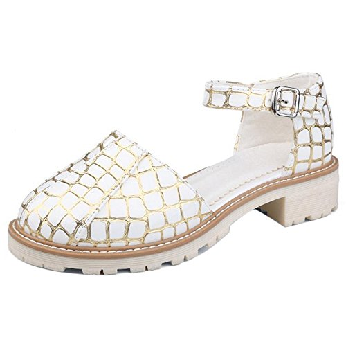 COOLCEPT Damen Mode Knochelriemchen D'orsay Schuhe Niedrig Absatz Geschlossene Sandalen 71057Gold-White
