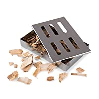 Blumtal Smoker Box, BBQ Smoker Box for Smoking Chips and Wood Smokers, Rust Proof Stainless Steel Smokerbox (with Chips)