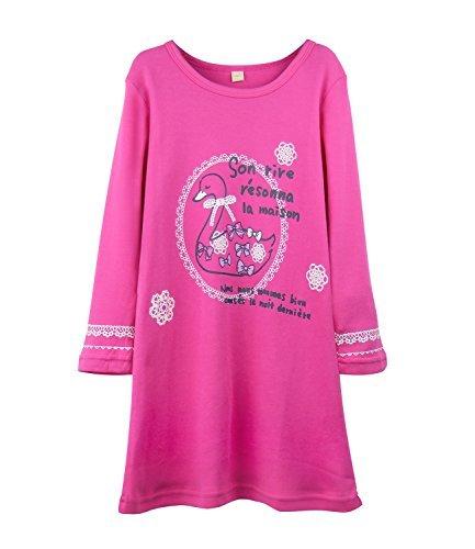 HOYMN Schwan Nachthemden für Mädchen Langarm Nachthemd für Herbst-Winter 100% Baumwolle Grün (9-10 Jahre, Rosa Schwan)