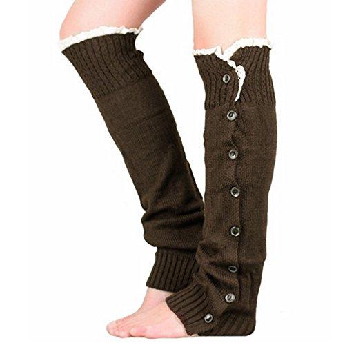 KingNew Crochet Knit Stiefelsocken, Topper Cuff Knit Accessory Gamaschen Frauen Beinwärmer Taste (braun)