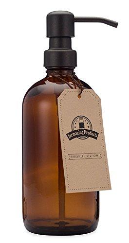 jarmazing Produkte Bernstein Glas Seife und Lotion Spender mit matt schwarz Pumpe?16oz?von -