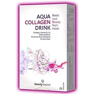 Beautyhacker Aqua Collagen Drink   Marine-Kollagen   28 Premium Proteinpulver-Sticks   Bioaktives Meereskollagen aus Seefisch   Made in Germany