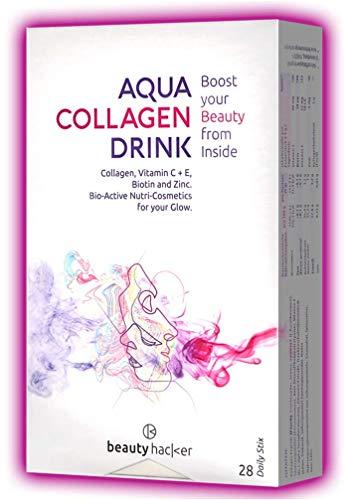 AQUA COLLAGEN DRINK. Marine Kollagen Peptide für die Schönheit der Haut. Hochdosiertes Anti-Aging Hydrolysat. Weniger Falten und Hautstraffung. 28 Beauty Sticks. Box 252g.
