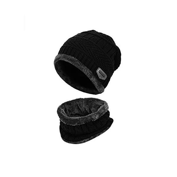 Goodbuy Warm Knitted Hat, Winter Beanie Hat Men with Circle Scarf for Ski and Outdoor Sports