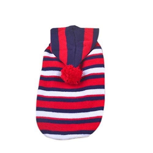 QHGstore Pet Dog striscia maglione Cozy Abbigliamento Pet cappotto con cappuccio, da cani Bianco rosso e blu S