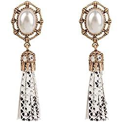 Yying Vintage Pearl Pendientes de gota Patrón de piel de serpiente Cuero de la PU Pendientes de la borla Moda Accesorios de joyería