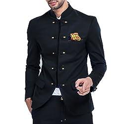Mr Button MenS Viscose Ethnic Jackets & Gilet (05Blj020-Xl_Black_X-Large)