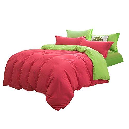Lazzboy Bettwäsche Spannbettlaken Bettlaken Bettwäsche Günstig Spannbetttuch 4 Stück Bettbezug: 200 x 230 cm/Flaches Blatt: 230 x 230 cm/Kissenbezug: 48 x 74 cm x 2 (Rot,E)