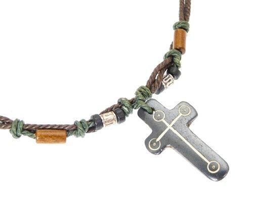 Halskette mit geschnitzten Knochen Kreuz / Kruzifix Anhänger - 54cm nicht verstellbar ()