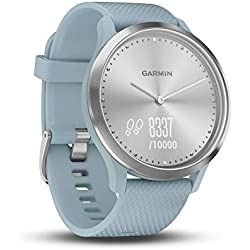 Garmin vívomove HR - Reloj Deportivo (Plata, Polímero, Resistente al Agua, Silicona, S/M, Turquesa)