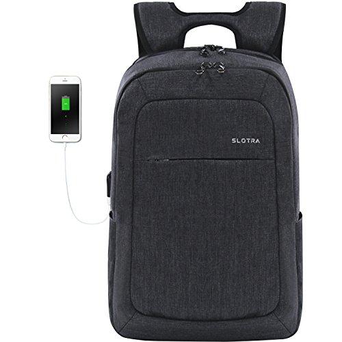 SLOTRA Zaino Porta PC 15,6 Pollici Leggero con Porta USB Cerniere Antifurto Resistente All'acqua Sottile Borsa Affari Casual (Grigio Scuro)