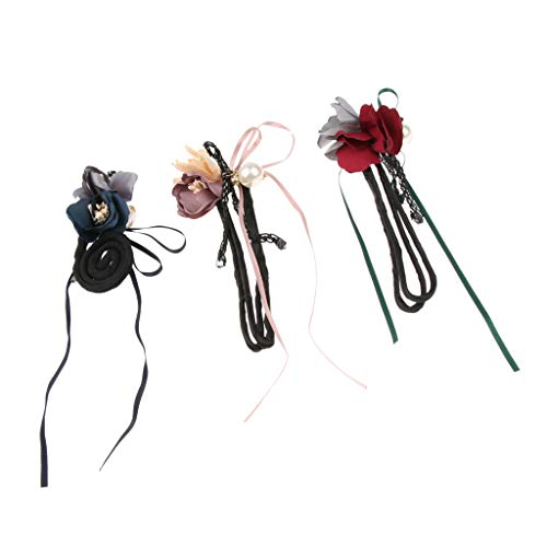 F Fityle 3 teilig Damen Fashion Hair Styling Donut Hair Bun Maker Blumen Haargummi Pferdeschwanz Haarschmuck - 2 -