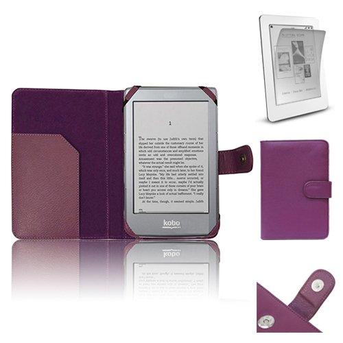 Xtra-Funky Esclusivo PU Custodia in Pelle libro di stile con raccoglitore per Kobo eReader GLO Include LCD PELLICOLA - Porpora