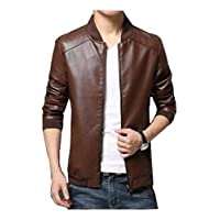 Men Casual Fashion Jacket pu Leather baseball collar Zip Up Jacket Coat Brown-L size