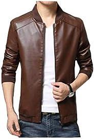 Men Casual Fashion Jacket pu Leather baseball collar Zip Up Jacket Coat - size