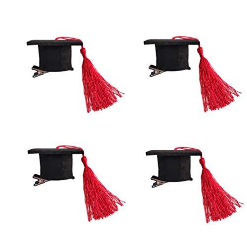 Amosfun 4 Stück Doktorhaube Haarspangen Mini-Hut Haarnadel mit Quasten Kostüm Abschlusskappe für Mädchen Frauen Abschlussfeier Dekoration