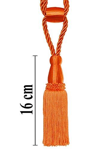 Raffhalter 50cm / Quaste 16 cm mit Kordel Farbe Orange Schmuckquaste Gardinen Vorhang Gardinenhalter...