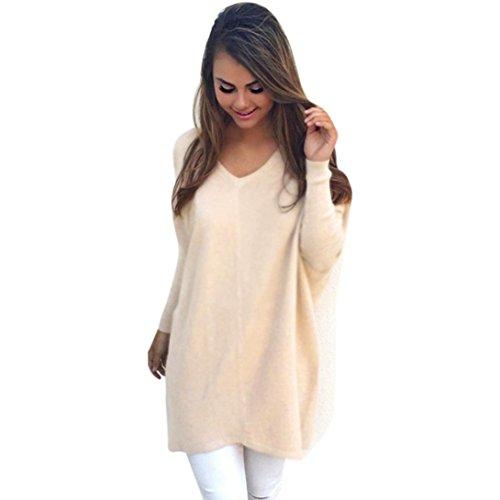 Damen Pullover Sweatshirt Tops Bluse Ronamick Sexy Einfarbig Casual Lange Ärmel Baumwoll Mischung Herbst Winter Warm (Khaki, S) (Lange Kaschmir-mischung)