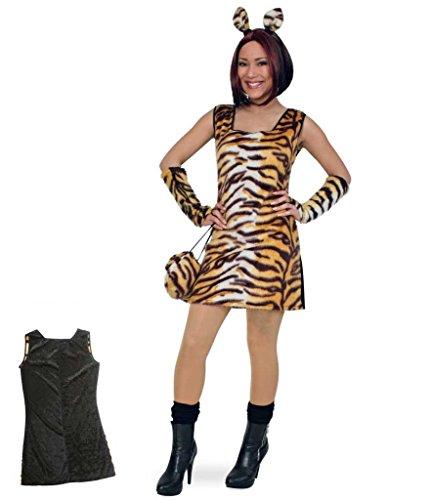 Fries 1304 Tisha Kleid Fasching Karneval Erwachsene Damen Tiger Kostüm: Größe: (Kostüm Tiger Damen)