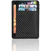Moda Tarjeta de Crédito Slim,RFID Bloqueo Monedero de Cuero,Mini Billetera para Tarjetas