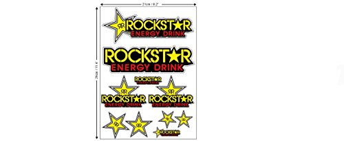 1 Set (10 Aufkleber) Rockstar Sticker Autocollant Motocross + plus TOPHEADS© Eyewear Sticker + BMX Auto Car Bike JDM DUB Tuning Racing