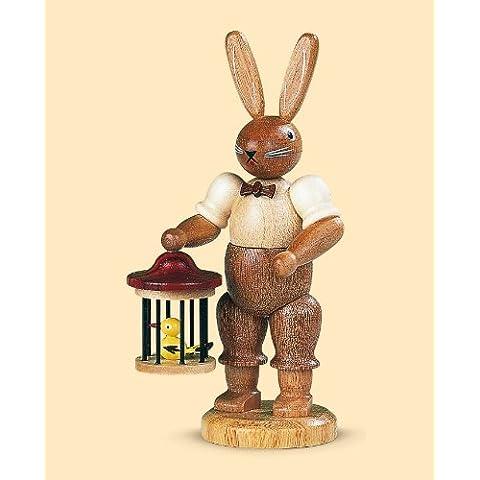 Conejo de Pascua señor conejo con jaula de pájaro, 11 cm. de alto, natural, original de los Montes Metálicos (Erzgebirge) hecho por la empresa Müller del pueblo de Seiffen