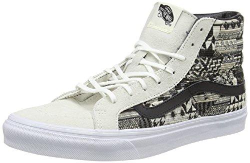 Vans Sk8-Hi Slim, Baskets Basses Mixte Adulte Blanc Cassé (Italian Weave white/black)