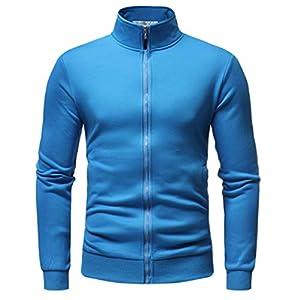 EUZeo Herren Casual Einfarbig Langarm Jacken Cardigan Slim Fit Sportlich Outwear Reißverschluss Mantel Coat Mehrfarbig Winter Übergröße Jacke Streetwear Sportswear