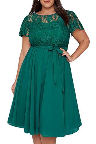 Nemidor Damen Cocktail Kleid Gr. 44, grün - Frauen Cocktail Kleider Grüne Für
