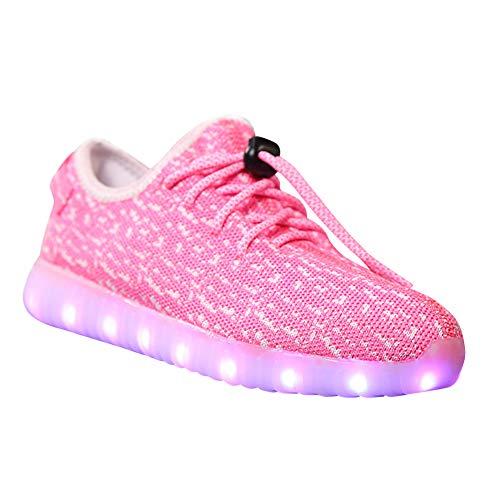 Daytwork Aufladen Leuchtend Leuchtschuhe Blinkschuhe - Jungen Mädchen Laufschuhe Kind LED Blitz USB Trainer Turnschuhe Ladegerät Mesh Atmungsaktiv Schuhe Sport Outdoorschuhe