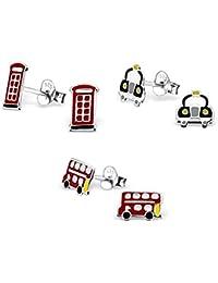3 pares de unidades con diseño de barco de Londres de plata de ley - Juego de pendientes de tuerca negro Taxi, rojo diseño de cabina de teléfono y rojo de autobús de dos pisos