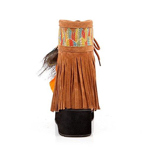 VogueZone009 Donna Allacciare Punta Tonda Tacco Medio Bassa Altezza Stivali con Frange Giallo