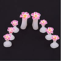 SHANF 8 Pcs/Set Silicone Flower Toe Separator Salon Polish Manicure Pedicure Tool for Women Girls(Pink)