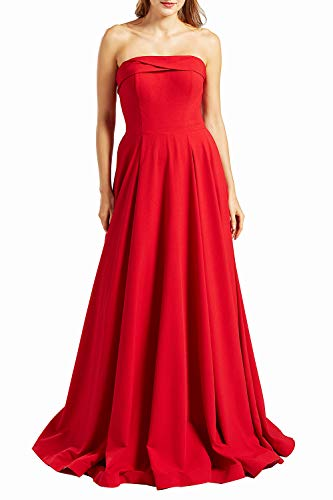 MACloth Women Elegant Strapless Long Wedding Party Bridesmaids Dress Prom Gown (EU48, Red)