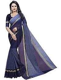 G Stuff Fashion Women Cotton Saree With Blouse Piece_1092_Purple_saree