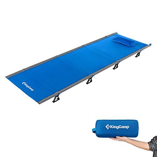 KingCamp Feldbett Ultraleicht Campingbett Aluminium Klappbett Indoor Outdoor bis 120 kg belastbar für Camping Wandern Reisen Klettern, 190 × 64 × 12 cm, Blau