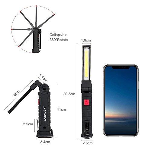 comprare on line Coquimbo COB Lampade di ispezione USB ricaricabile LED da lavoro Pieghevole Torcia con magnetica clip e gancio per Auto/Campeggio/Home e di emergenza uso (20.3x3.5cm) prezzo