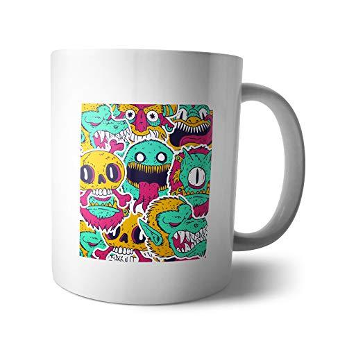 Kaffee-Becher - Tasse Monster | Drachen Kuscheltiere Ungeheuer Gespenst Cartoon Halloween Kinder, Verpackung:Ohne Box, Design:Design 4 (Becher Billig Kaffee Halloween)