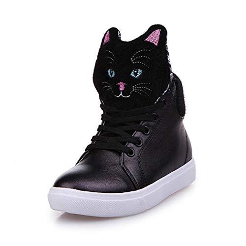 UFACE Damen Casual Krawatte Student Schuhe hoch Hilfe Muffins unten flach Katze Schuhe(Schwarz,37 EU)