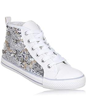 Twin-Set - Sneaker Stringata Bianca e Argentata, in Paillettes e Tessuto, estrosa e modaiola, Bambina, Ragazza...