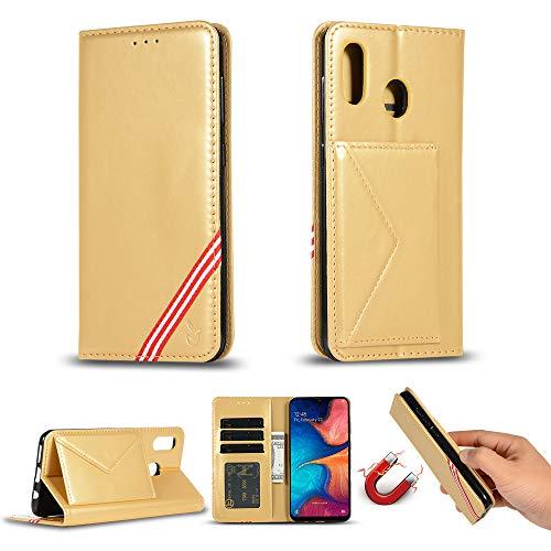 Miagon für Huawei P Smart Z Hülle,Wallet Case Cover Schutzhülle und Klapp Magnetisch Flip Bumper Ledertasche Schutzhülle,Gold