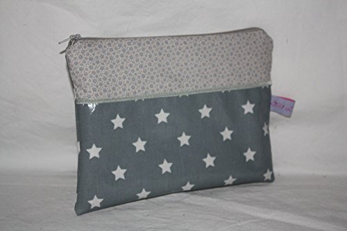 Lilli Löwenherz Kulturtasche Kosmetiktasche Clutch Stars and Flowers in grey